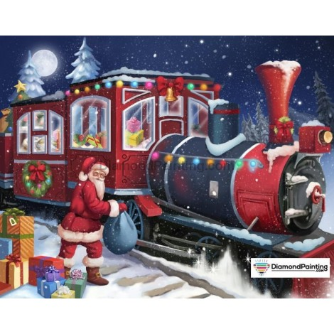 Ships From USA - Santa Train Christmas 40x60cm