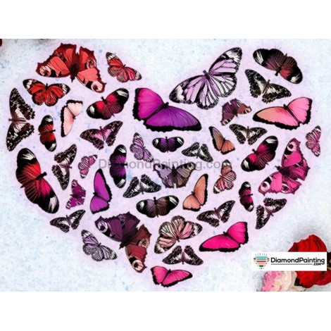 Ships From USA -  Butterfly Hearts 50x40cm
