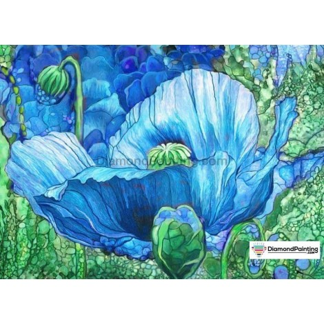 Abstract Blue Flower 5D DIY Diamond Painting Kit