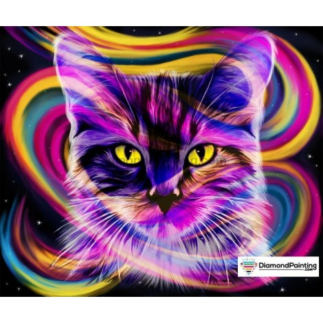 Ships From USA -  Rainbow Party Cat 50x40cm
