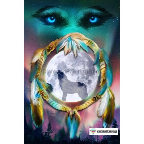Wolf Dreamcatcher Moon Diamond Painting Kit